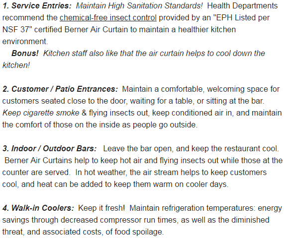 Curtains Ideas air curtains for restaurants : Where Do Restaurants Use Berner Air Curtains?