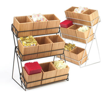 Mil 1817-13 - Black Wire Bin Display w/Bamboo Bins, 13 x 9-1/2 x