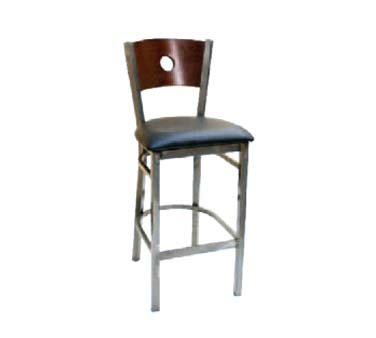 77CA-BS-DM GR6 ATS - Bar Stool, wood back w/circles, grade 6 uph. seat, clear metal frame