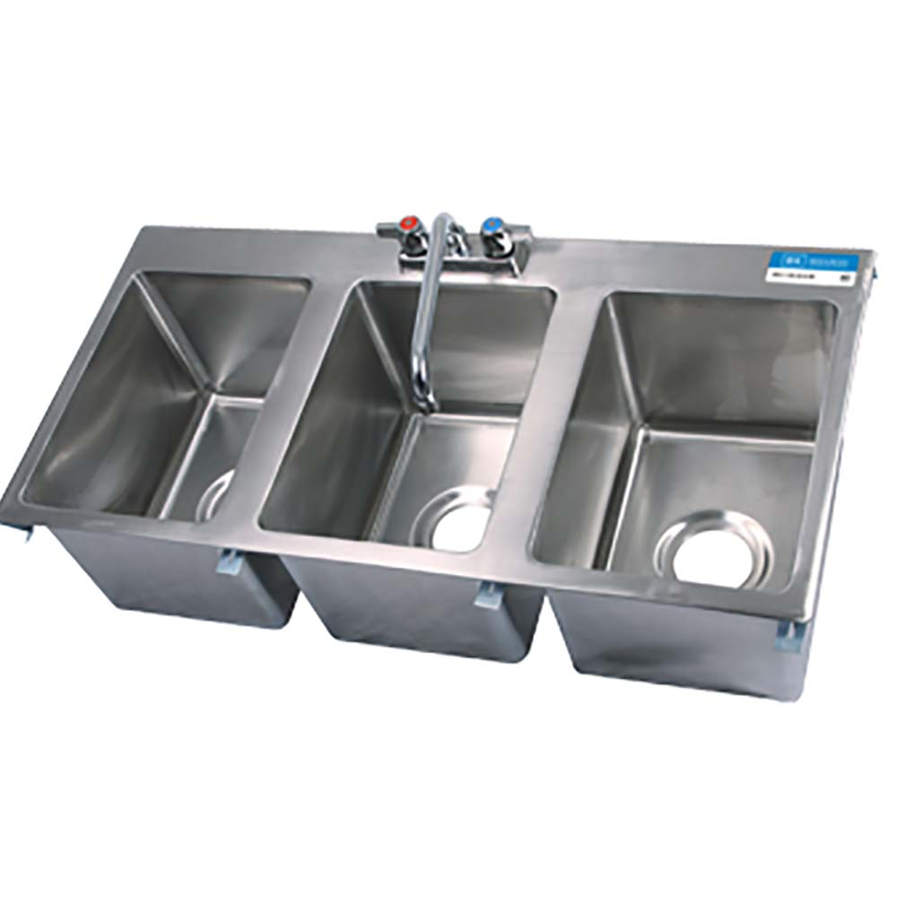 Bk Resources Bk Dis 1014 3 3 Compartment Drop In Sink