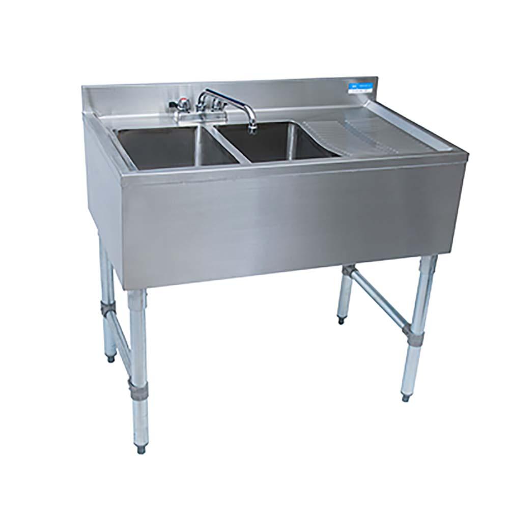 BK Resources BKUBS-248RS Four Compartment Underbar Sink Deck Mount ...