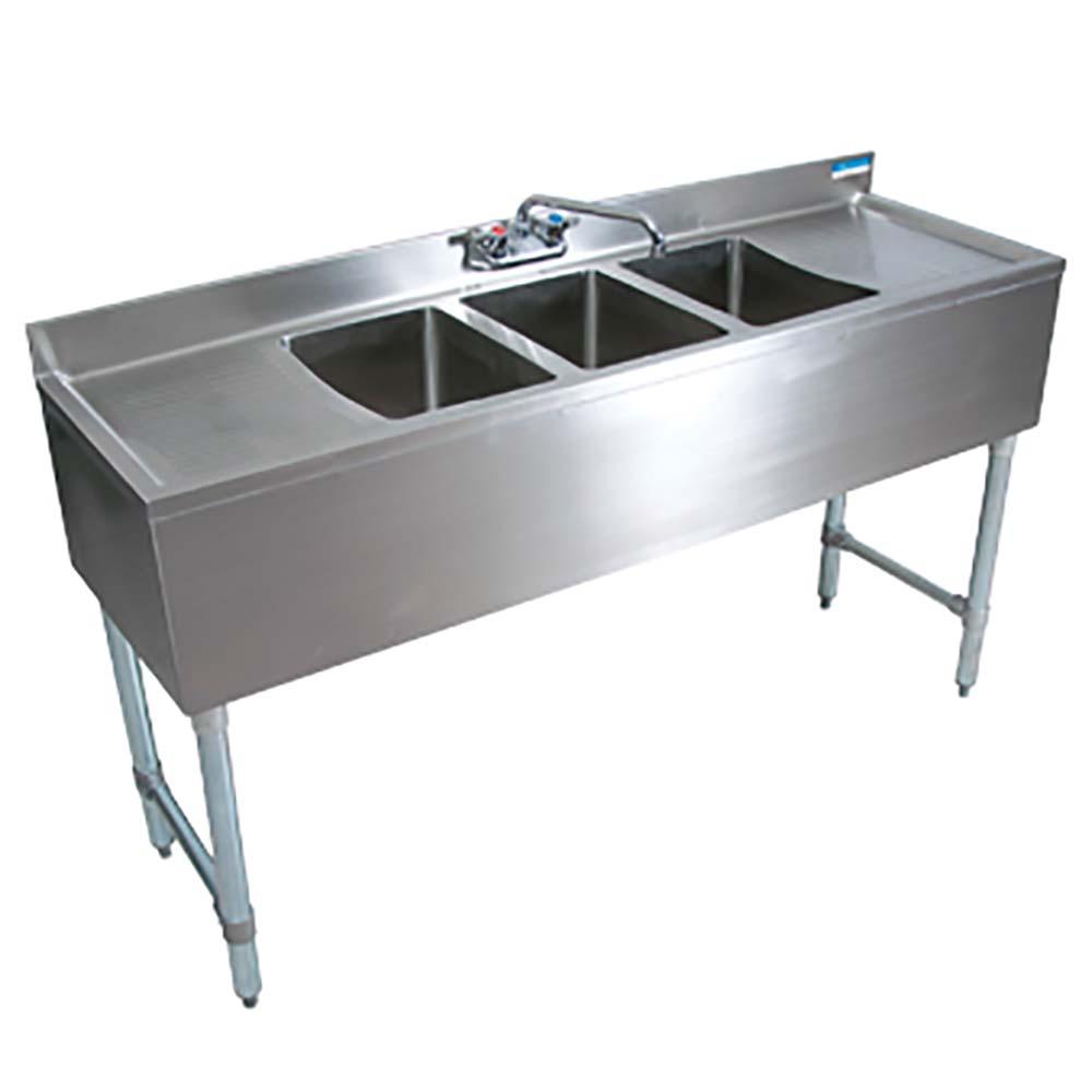 Bk resources bkrebkubw 348rs 3 compartment sink w right - Undermount 3 compartment kitchen sinks ...