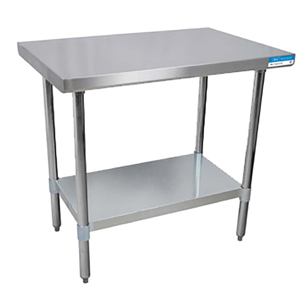 BK Resources VTT Stainless Steel Work Table Channel Reinforced - Stainless steel work table with shelves