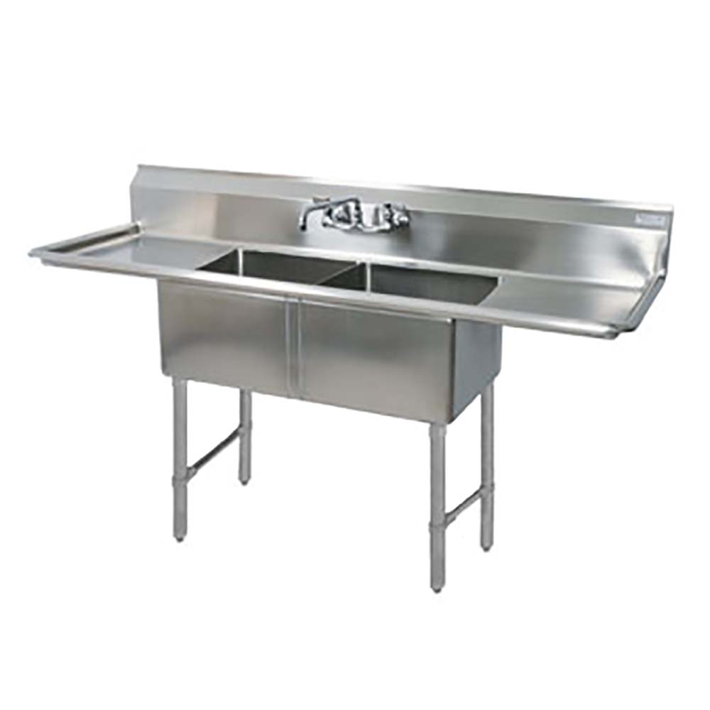 BK Resources BKS-2-18-12-18T Two Compartment Sink Drainboards ...