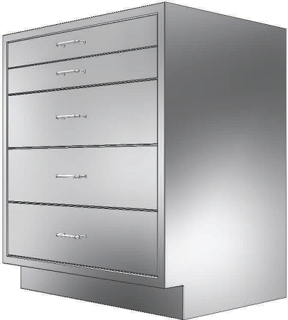 Kloppenberg BL242229   Drawer Base Cabinet W/o Locks, 24 X 22 X 28 3/4 In.