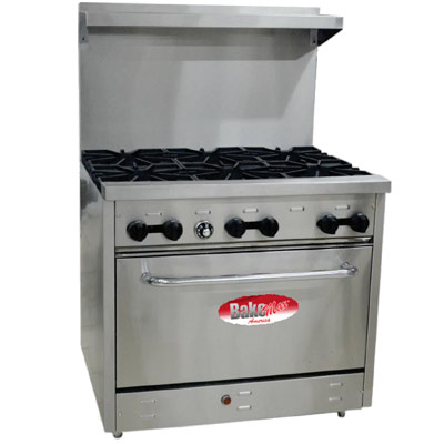 "Restaurant Kitchen Oven bakemax bas36o - restaurant range, gas, 36"", (6) 30k btu burners"