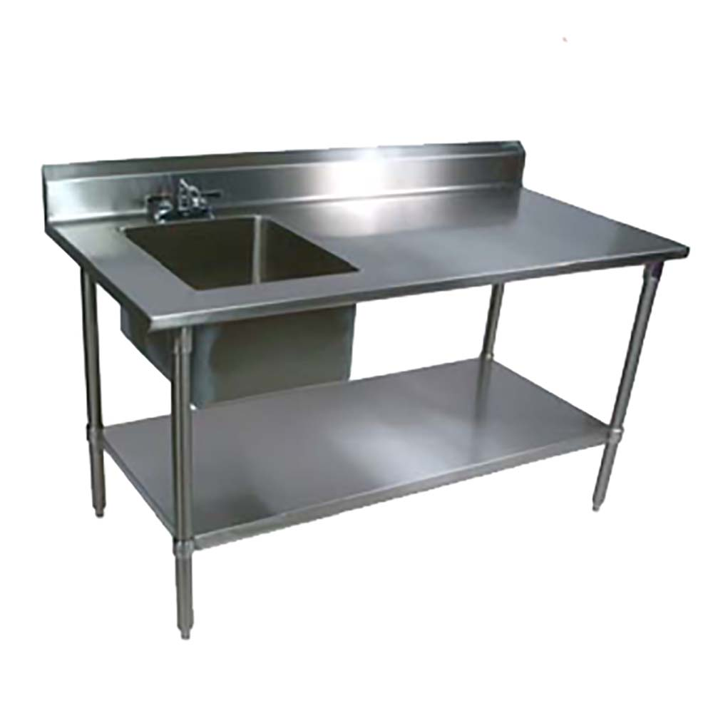 John Boos EPT8R5 3072GSK L   Work Table With Sink, 72 X 30