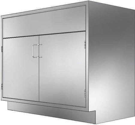 BX482235 - Double Door Sink Base Cabinet w/o Locks, 48 x 22 x 35 in.