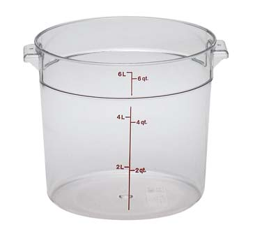 RFSCW6135 Cambro Camwear Round Storage Container 6 qt withstands