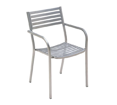 EMU 268   Segno Stacking Armchair, Outdoor/indoor, Steel Slat Pattern Back  And Seat