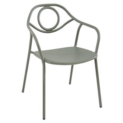 EMU 653   Zoe Stacking Armchair, Outdoor/indoor, Tubular Steel Back, Solid  Steel Seat