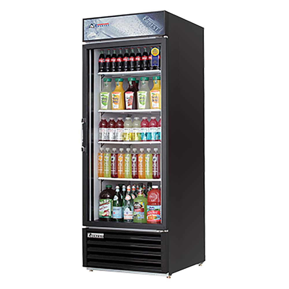 Everest EMGR24B Reach-In Glass Door Merchandiser Refrigerator One ...