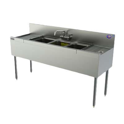 Perlick TSD53C   Underbar Sink Unit, 3 Compart, 60 Inch W X 24 Inch