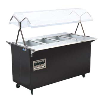 Vollrath 38711604 hot food steam table w black wrap locking casters - Sneeze guard for steam table ...