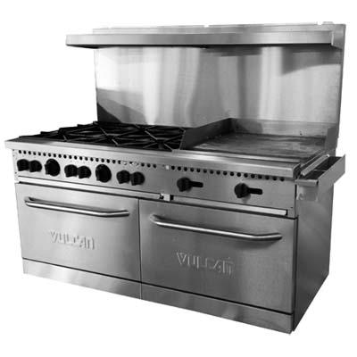 stove 24 inch. vulcan sx60f-6b24g - restaurant range, gas, 60 inch , (6) stove 24