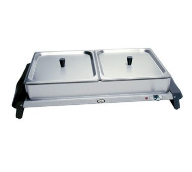WTBS-2 Cadco - Double Buffet Server, counter top warming base && pans, (2) 1/2