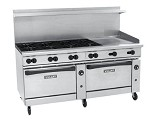 72CC-6B36G Vulcan - Endurance 6 Burner Restaurant Range w/36 in. Fry Top & Dual Convection Ovens, 72 in.