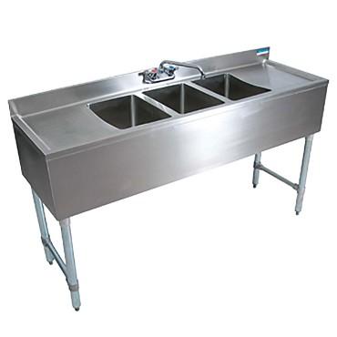 Bk resources bkrebkubw 360ts 3 compartment sink w left - Undermount 3 compartment kitchen sinks ...