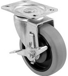 "5SBR-1PT-PLYTLB BK Resources - 5"" polyurethane plate casters wtih top lock brake. PRICED PER EA"