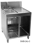 SWB-24L-C Glastender - Underbar Wet Waste Sink Unit, with one sink compartment on left,