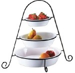 563866 Browne-Halco - Bowl Set, (3) bowls, (1) wire stand, ceramic, bright white, Minu