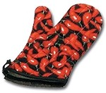 338CP13 Intedge - Chili pepper oven mitt, hang-up loops, right or left handed, 13""