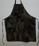 339-CAMO Intedge - Camouflage Bib Apron, no pockets, matching ties, polyester or cotton