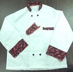 345CPM Intedge - Chef coat w/chili pepper design, medium, double breasted, one pocket
