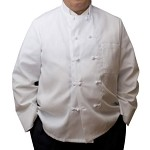 345KB Intedge - Chef's Coat w/ Knotted Buttons, White, Double Breasted, One Pocket