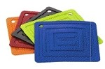 AS6S31 Lodge - Square Blue Silicone Pot Holder, 5-7/8 x 5-7/8 in.