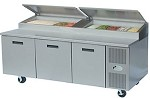 "8395NPCB Randell - Prep Table, Refrigerated Raised Rail, 95""L, (3) 27"" doors, polyc"