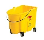 FG757088YEL Rubbermaid - WaveBrake Bucket, yellow, mop bucket with caster kit, 35 quart