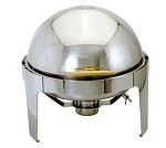 EC-14 Update International - 6.5 round roll top chafer, with gold and titanium plated handle.