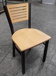 USED AAA Furniture Metal Dining Chair - Wood Slat Seat and Back