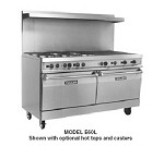 "EV60-SS6FP24G240 Vulcan Hart - 60"" Electric Commercial Range, (5) Hot Tops, (2) Standard Ovens, 240 Volts"