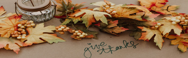 artificial fall leaves with give thanks written below in marker