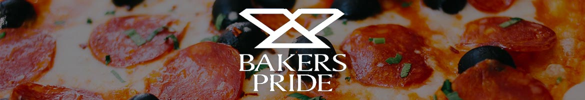 A piece of pizza with the bakers pride logo on it