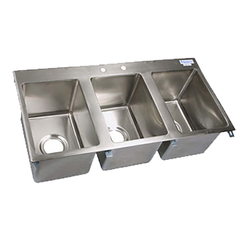 BK Resources BK-DIS-1014-3 Three Compartment Drop-In Sink Stainless ...