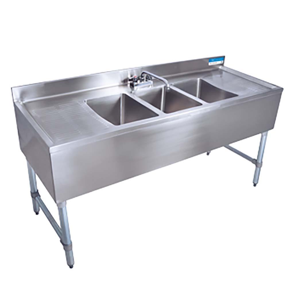 BK Resources BKREBKUBS 236LS   2 Compartment Under Bar Sink, 10 X 14 X 10  In.