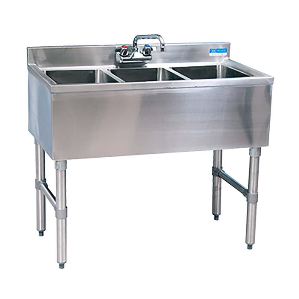 BK Resources BKUBW-336S Three Compartment Slimline Underbar Sink ...