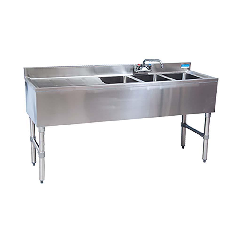 Bk Resources Bkubw 348ls Three Compartment Slimline Underbar Sink