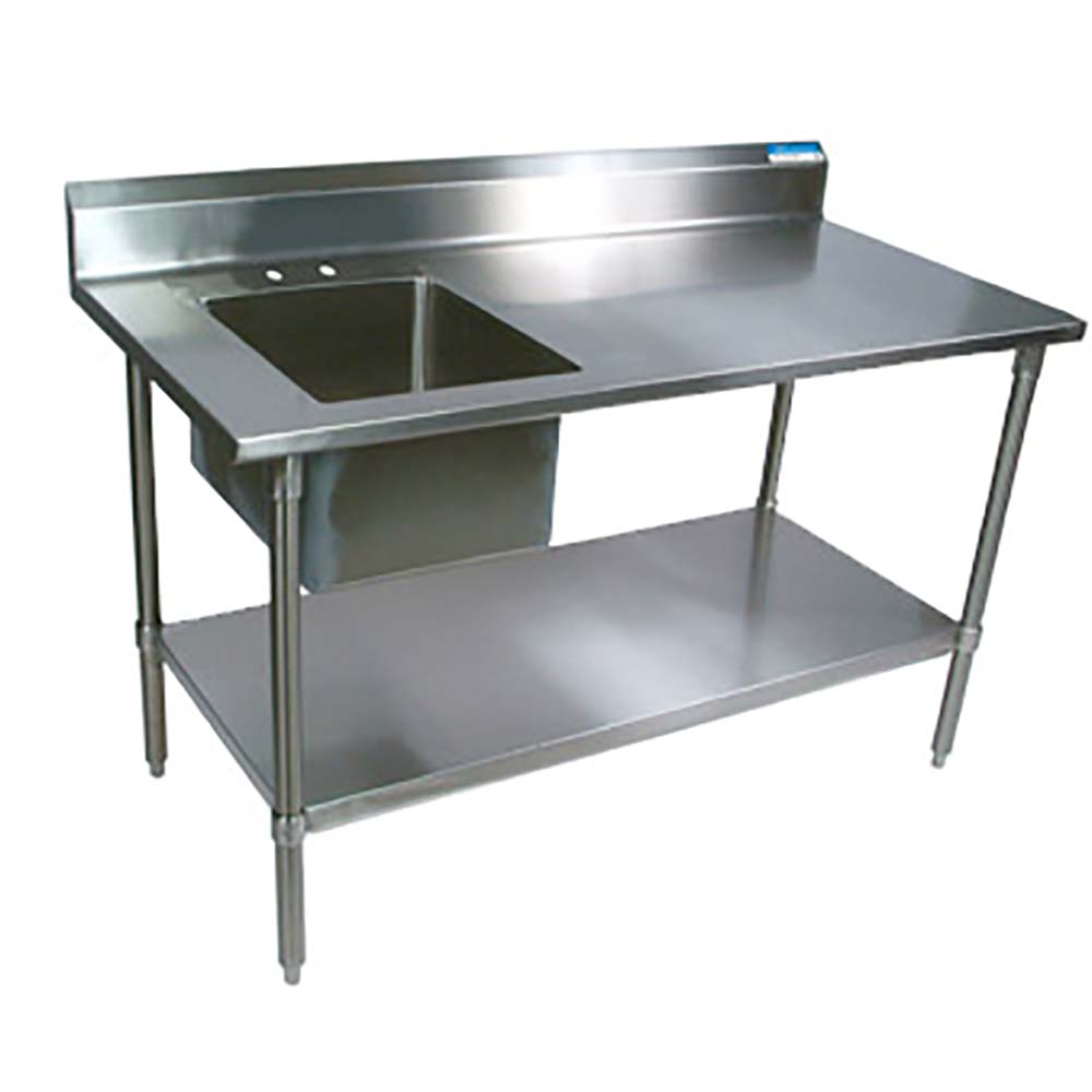 BK Resources BKPTSRPG Prep Table With Prep Sink Stainless - Stainless steel work table with sink