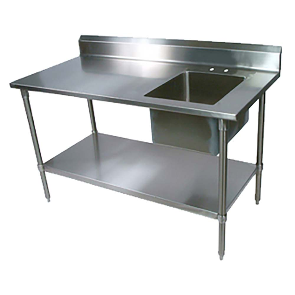 BK Resources BKPT 3060S R P   Stainless Steel Work Table W/Faucet U0026