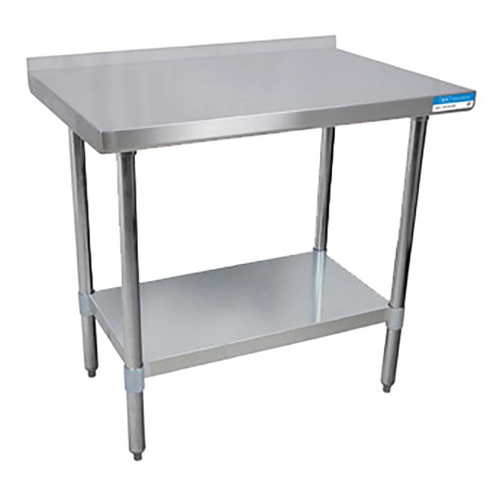 BK Resources VTTR Stainless Steel Work Table Channel Reinforced - Stainless steel work table with backsplash