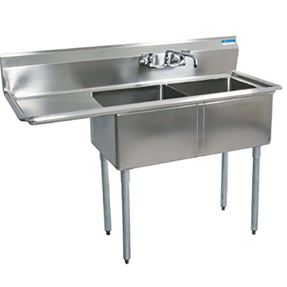 Bk resources bks 2 18 12 18l two compartment sink left for Colored stainless steel sinks