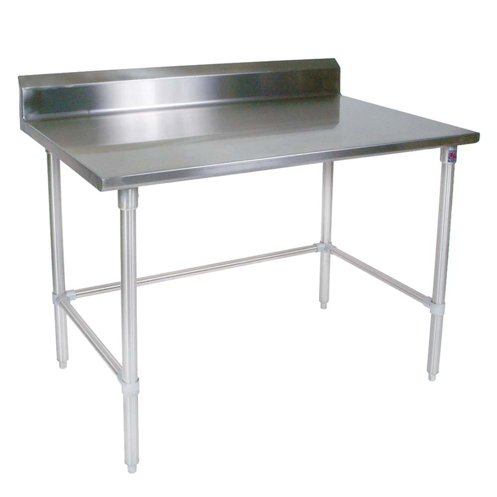STRSBK John Boos Work Table W X D Ss Top With - Stainless steel work table with backsplash