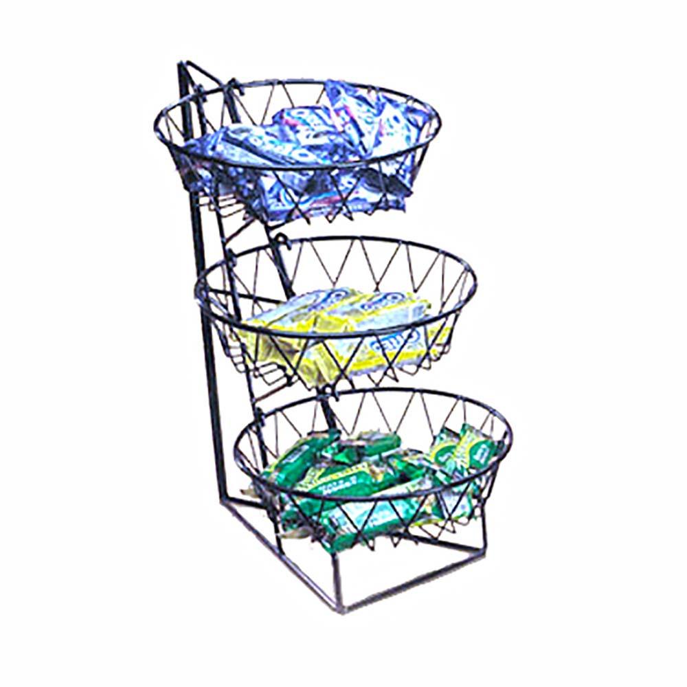 Cal-Mil 1292-3 - 3 Tier Display Rack w/Round Wire Baskets, 12 x 18 x