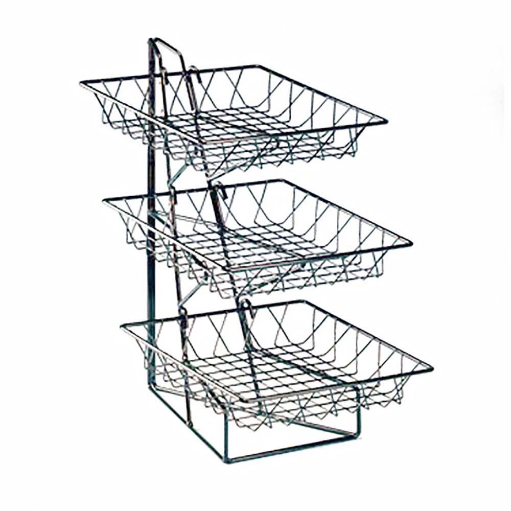 Cal-Mil 1293-3 - 3 Tier Display Rack w/Square Wire Baskets, 12 x 19 x