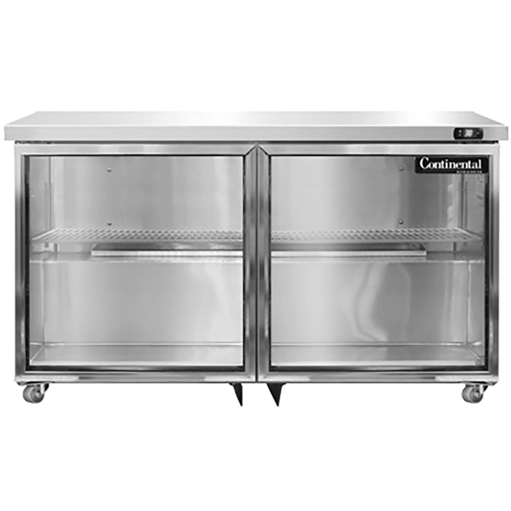 Continental UC48-GD - Undercounter Display Refrigerator 48 inch wide two-section