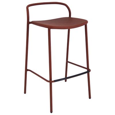EMU 654   Zoe Stacking Barstool, Outdoor/indoor, Tubular Steel Back, Solid  Steel Seat
